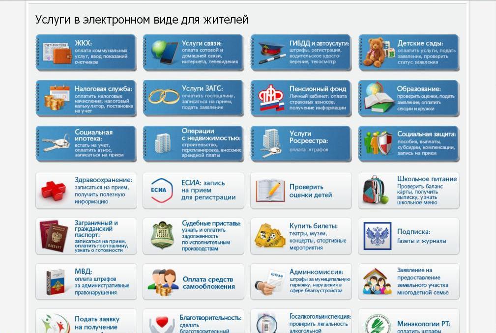 Список услуг для жителей портале Госуслуги РТ